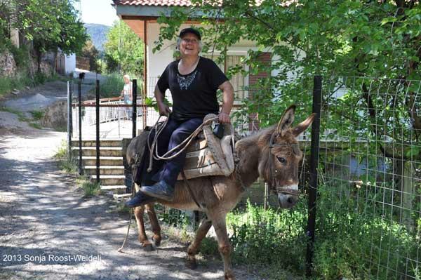 E4 Frau auf Esel