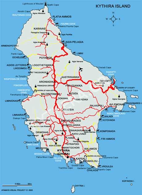 Landkarte Kythira